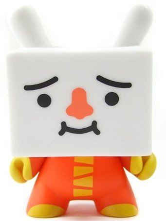 Tofu Dunny Devilrobots Red Variant figure by Devilrobots, produced by Kidrobot. Front view.