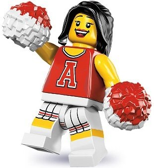 Red Cheerleader figure by Lego, produced by Lego. Front view.