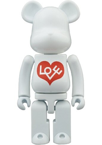 LOVE Bianco Be@rbrick 200% figure by Alexander Girard, produced by Medicom Toy X Bandai. Front view.