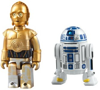 C-3PO & R2-D2 Kubrick Set figure, produced by Medicom Toy. Front view.