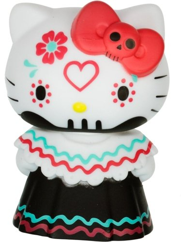 Hello Kitty Horror Mystery Minis - Red Bow Calavera Day of the Dead figure by Sanrio, produced by Funko. Front view.