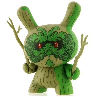 Green Man figure by Doktor A, produced by Kidrobot. Front view.