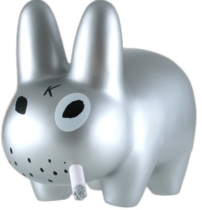 Smorkin Labbit figure by Frank Kozik, produced by Kidrobot. Front view.
