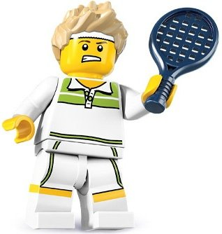 Tennis Ace figure by Lego, produced by Lego. Front view.