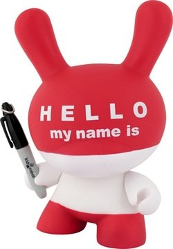 Hello My Name Is (HMNI) figure by Huck Gee, produced by Kidrobot. Front view.