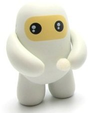 White Ninja figure by Shawn Smith (Shawnimals), produced by Kidrobot. Front view.