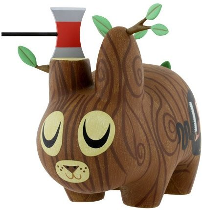 Wood Labbit figure by Amanda Visell, produced by Kidrobot. Front view.