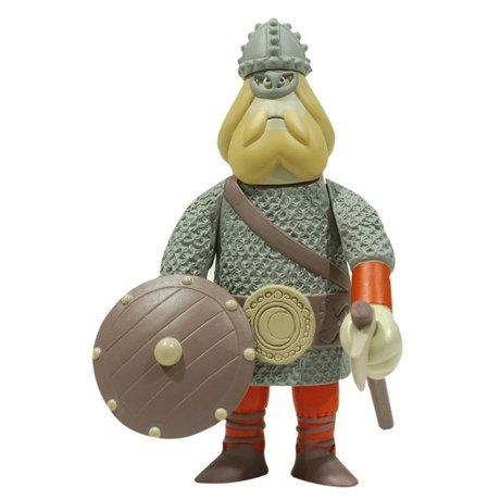 Hengist figure by James Jarvis, produced by Amos Toys. Front view.