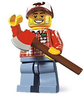 Lumberjack figure by Lego, produced by Lego. Front view.