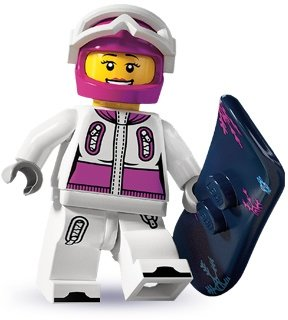 Snowboarder figure by Lego, produced by Lego. Front view.