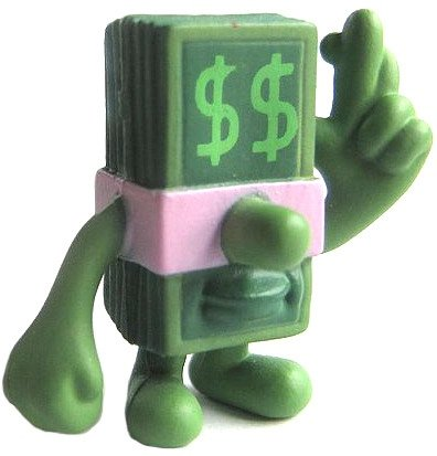 Lucky Dollar figure by Jeremyville, produced by Kidrobot. Front view.
