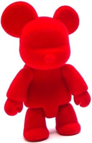 Qee - Flocked Red figure by Toy2R, produced by Toy2R. Front view.