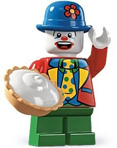 Small Clown figure by Lego, produced by Lego. Front view.