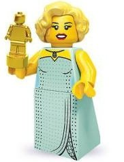 Hollywood Starlet figure by Lego, produced by Lego. Front view.