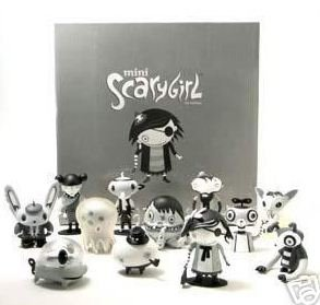Scarygirl - Mono Set figure by Nathan Jurevicius, produced by Flying Cat. Front view.
