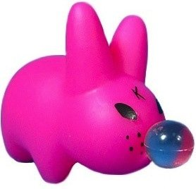 Pink Bubblegum  figure by Frank Kozik, produced by Kidrobot. Front view.