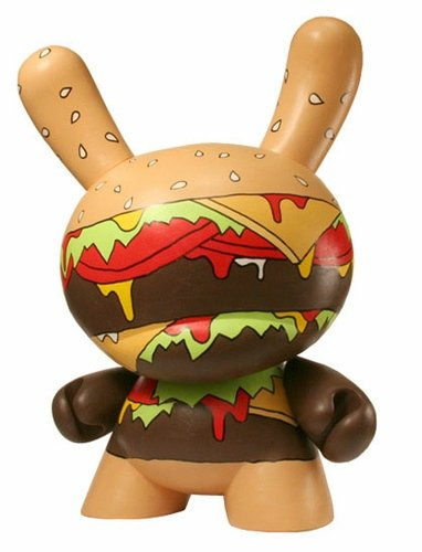 O.G. Burger Dunny figure by Twelve Car Pileup, produced by Kidrobot. Front view.