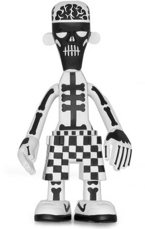 B/W White Body Black Bone 009 figure by Michael Lau, produced by Crazysmiles. Front view.
