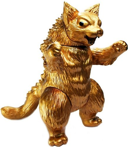 Gold Kaiju King Negora figure by Dead Presidents. Front view.