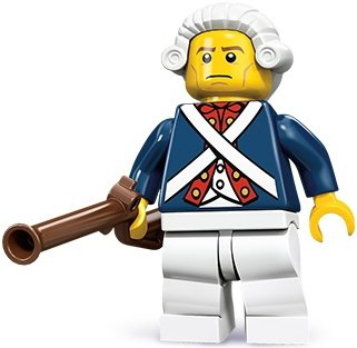 Revolutionary Soldier figure by Lego, produced by Lego. Front view.