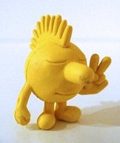 Sunshine figure by Jeremyville, produced by Kidrobot. Front view.