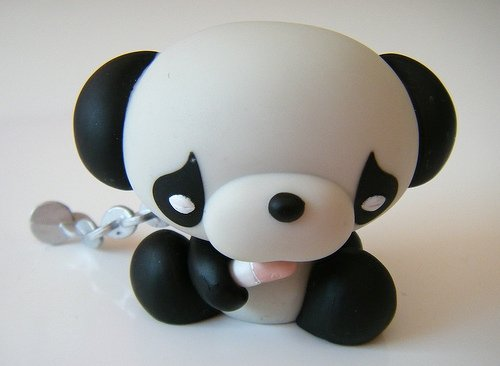 Safari Panda figure by Junko Mizuno, produced by Kidrobot. Front view.
