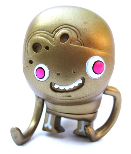 The Golden Bimlar (Chase)  figure by Jon Burgerman, produced by Kidrobot. Front view.