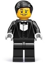 Waiter figure by Lego, produced by Lego. Front view.
