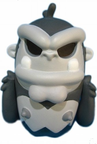 Grey Ape BoOoya figure by Jeremy Madl (Mad), produced by Kidrobot. Front view.
