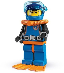 Deep Sea Diver figure by Lego, produced by Lego. Front view.