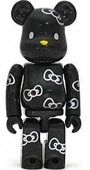 Black Hello Kitty - Secret Cute Be@rbrick Series 9 figure by Sanrio, produced by Medicom Toy. Front view.