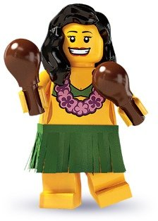 Hula Dancer figure by Lego, produced by Lego. Front view.