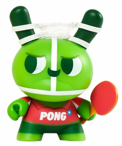 The Ping Pong Twins - Pong figure by Mauro Gatti, produced by Kidrobot. Front view.