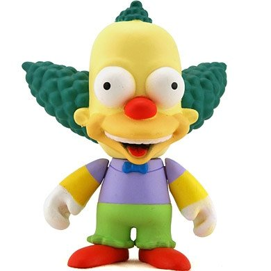 Krusty figure by Matt Groening, produced by Kidrobot. Front view.