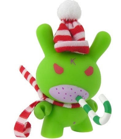 Humbug Dunny figure by Frank Kozik, produced by Kidrobot. Front view.