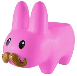 Pink Stache Labbit Stool (Art Giants) figure by Frank Kozik. Front view.