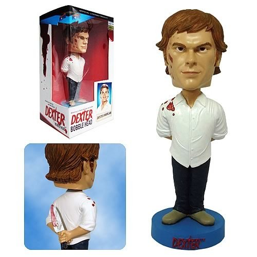 Dexter Bobble Head figure, produced by Bif Bang Pow. Front view.