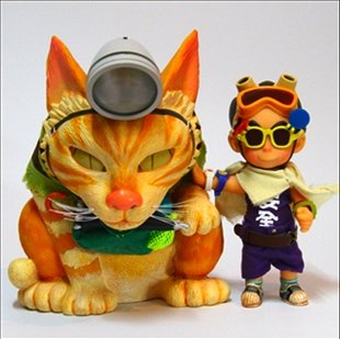 lo siu kong & little cat figure by Cuson, produced by G. N. Toys. Front view.