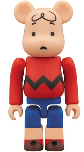 Charlie Brown Be@rbrick 100% figure by Charles M. Schulz, produced by Medicom Toy. Front view.