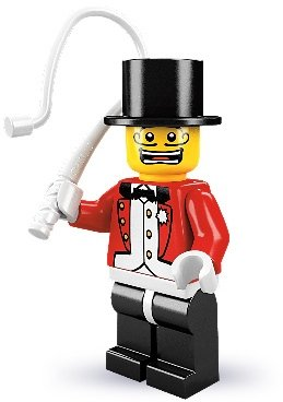Ringmaster figure by Lego, produced by Lego. Front view.