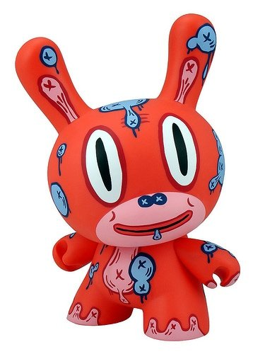 RED MOD figure by Gary Baseman, produced by Kidrobot. Front view.
