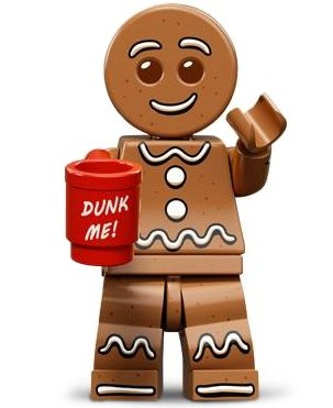 Gingerbread Man figure by Lego, produced by Lego. Front view.