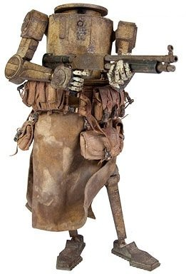 Monty Dropcloth figure by Ashley Wood, produced by Threea. Front view.