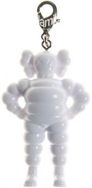 Chum Keychain - White figure by Kaws, produced by Original Fake. Front view.