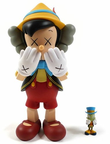 Pinocchio & Jiminy Cricket  figure by Kaws, produced by Medicom Toy. Front view.