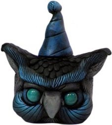 Party Owl - Sky on Velvet Black figure by Scribe. Front view.