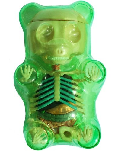 Anatomical Gummi Bear 3D Puzzle - Green figure by Jason Freeny, produced by Famemaster. Front view.