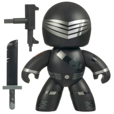Snake Eyes figure, produced by Hasbro. Front view.