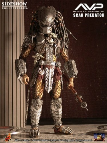 Alien VS Predator - Scar Predator figure, produced by Hot Toys. Front view.
