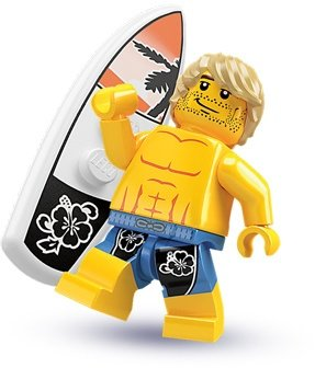 Surfer figure by Lego, produced by Lego. Front view.